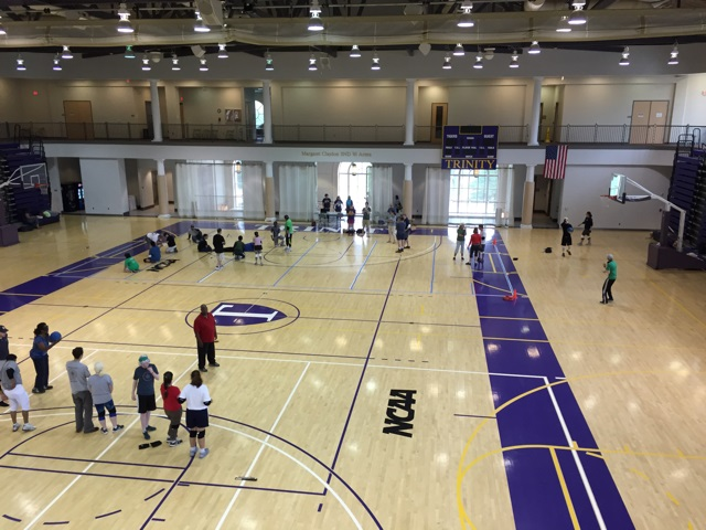 View of skill stations from track above gym